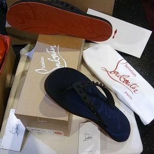 Christina Louboutin Flip Flat Rubber Sandals